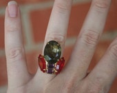 R20 Upcycled Vintage Tulip Gray Purple Red Rhinestone Adjustable Cocktail Ring
