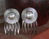Pearl Retro DISCO Silver Hair Combs Vintage Upcycled