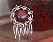 H115 Vintage Purple Cats Eye Cabochon and Amethyst Rhinestones FLOWER Hair Comb