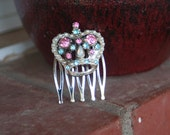 H111 Vintage CROWN Pink Blue Opal Glass Pearl Rhinestone Upcycled Hair Comb
