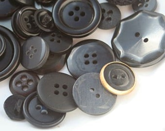 Vintage Buttons Assorted Black Plastic