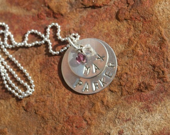 STERLING Silver Mother Hand Stamped Overlapping TWO DISC Necklace Children's Names