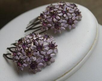 H126-127 Vintage Purple Enamel Flower Rhinestone Amethyst Crystal Hair Combs