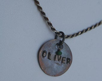 Mother Mommy Hand Stamped DOUBLE STAMPED Oxidized Sterling Silver ONE Disc Necklace