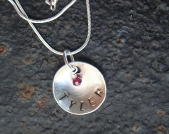 Mother Mommy Hand Stamped Sterling Silver ONE DISC Dome Necklace