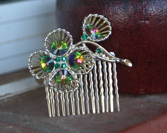 H2 Funky Rainbow Rivoli Flower Upcycled Vintage Hair Comb