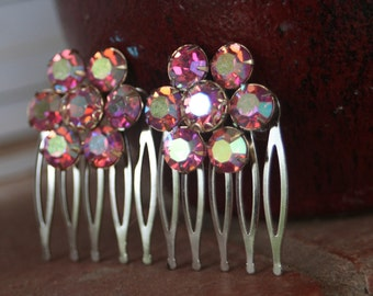 H113-114 Vintage Pink AB WEISS Upcycled Rhinestone Hair Combs