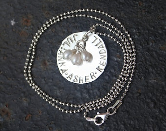 Custom Mommy Hand Stamped ONE disc THREE Name Necklace Mother's Day