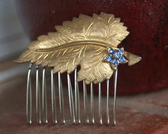 H34 GORGEOUS Something Blue Flower Vintage Upcycled Gold Leaf Rhinestone Hair Comb