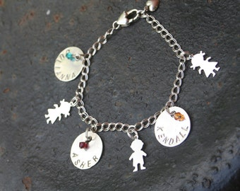 CUSTOM Mother GrandMother Hand Stamped Sterling Silver Charms Boy Charm One Disc