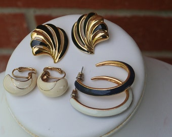 Gold Navy White Black Enamel Earrings Set Lot Three Pair