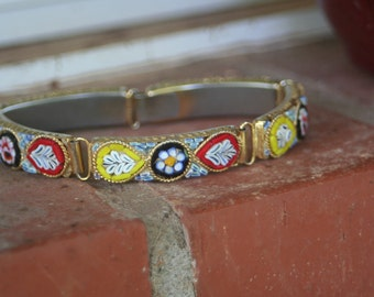 Micro Mosaic Linked Vintage Bracelet Red BLACK Yellow Roses Forget me Nots