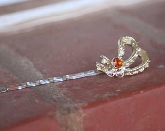H96 Amber Tan Rhinestone Ribbon Upcycled Vintage Hair Pin