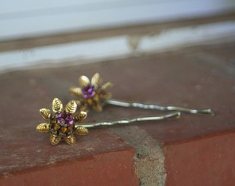 H98-99 Vintage Rhinestone Flower Amethyst Bridal Hair Pins