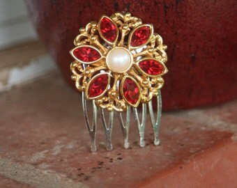 H125 RED Siam Flower Pearl Upcycled AVON Vintage Hair Comb