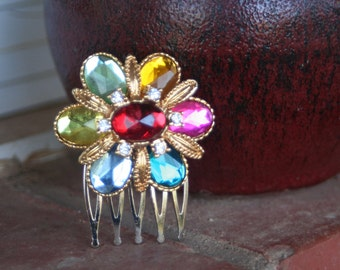 H117 Rainbow Flower Upcycled Vintage Hair Comb