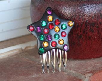H180 Rainbow STAR Upcycled Vintage Hair Comb