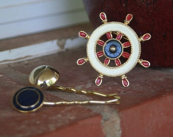 NAUTICAL Theme Enamel Navy Red Cream Brooch Two Upcycled Bobby Pins