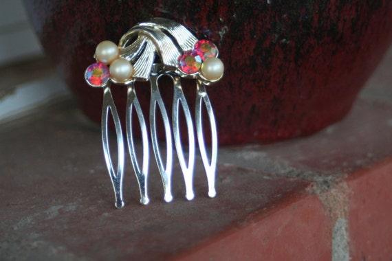 H124 Hyacinth AB and Pearl Vintage CORO Upcycled Rhinestone Hair Comb