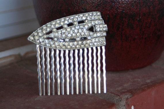 ART DECO Rhinestone Hair Comb Vintage Upcycled