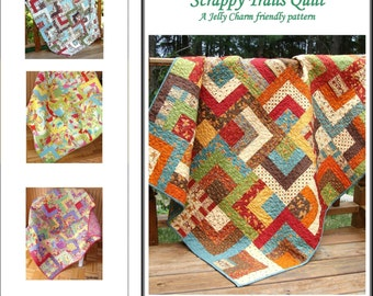 SUMMER SALE - Custom Quilt Kit - Choose any Jelly Roll and Charm Pack - Scrappy Trails by Carlene Westberg