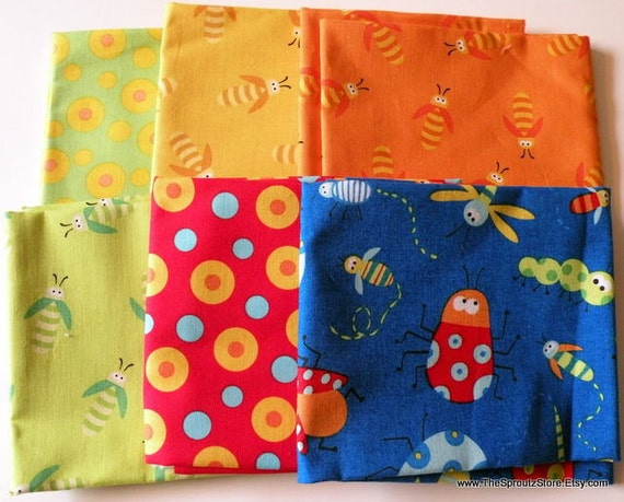 Beetle Boy Fat Quarter Bundle - Ellen Crimi-Trent for Clothworks - 6 Fat Quarters - OOAK Last Set