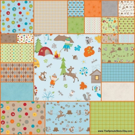 REDUCED PRICE Fox Trails by Doohikey Designs for Riley Blake  -  5  x  5 Inch Squares - Set of 3