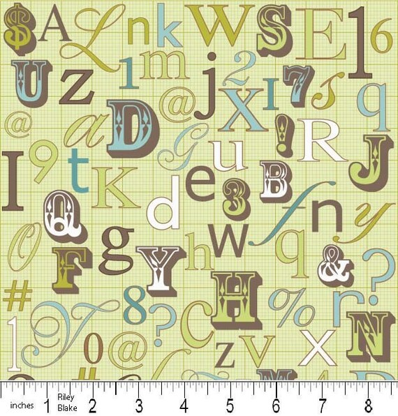 Penny Lane  -  Letters in Green sku C7101 - by My Minds Eye for Riley Blake Designs - 1 Yard - CLEARANCE