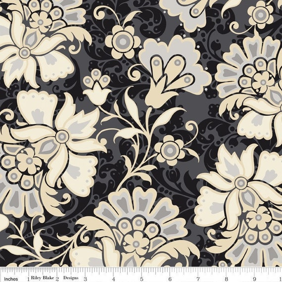 CLEARANCE - Lost and Found  - Main in Black  - Sku C2600 - by Jen Allyson for Riley Blake Designs - 1 Yard