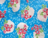 Vintage FEEDSACK HALF  Red Floral Blue Bkg