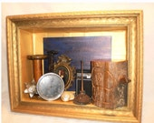 Nostalgia Assemblage Collage Mixed Media Vintage Table or Wall Shadow Box Art Work Free Shipping