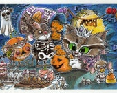Mice Halloween Party Canvas Cloth Print of Original Art by Kevin King SFA Mouse Cat