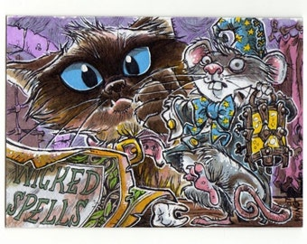 Wicked Spells Cat and Mouse Halloween Art Print On Canvas Cloth by Kevin King