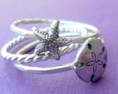 Sterling Silver Sea Stacking Ring Set with Starfish and Sand Dollar