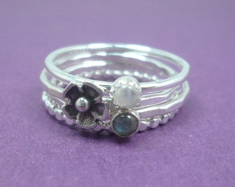 Sterling Silver Labradorite and Moonstone Stacking Ring Set