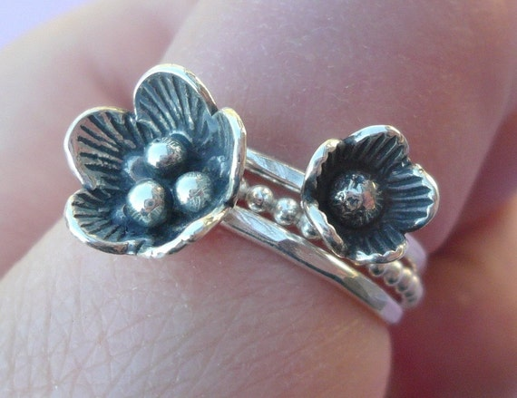 Silver Flowers Stacking Ring Set
