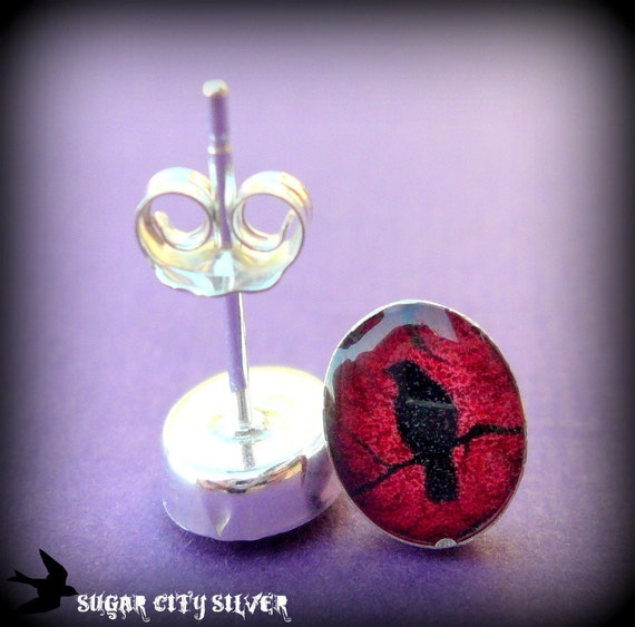 Crow Silhouette Post Earrings - Sterling Silver and Resin