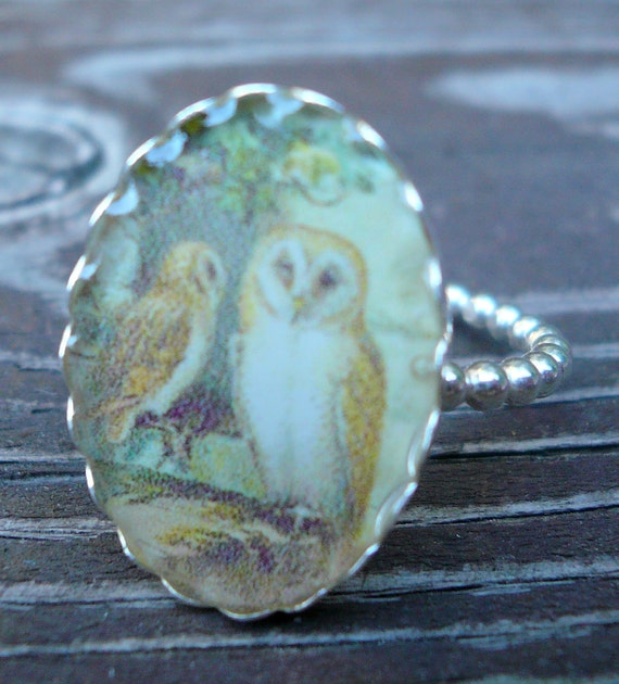 Owl Ring size 7 1/2- Sterling Silver and Resin