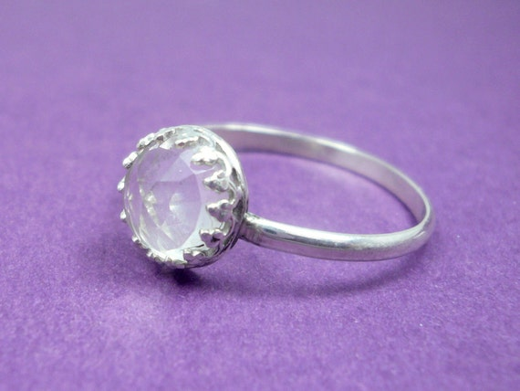 Sterling Silver Clear Crystal Quartz Ring Size 7.5