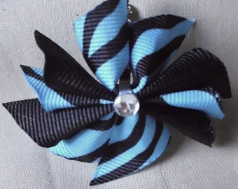 Blue and Black Zebra Doll Hair Bow