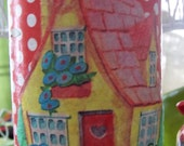 UpCycled TinCan Cottage Love in Red Polka Dots Favor