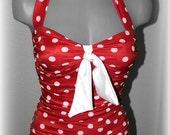 Red Polka Dot Retro Swimsuit