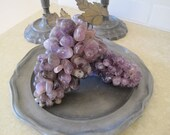 RESERVED FOR ISABEL OneVintage Grape ClusterPurple Quartz Amethyst Crystal Brass Leaves Made in Italy Ornamental Home Decor 1960s