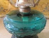 RESERVED Antique Art Nouveau Oil Lamp Kerosine Lamp  Teal Glass Poppies Cosmos