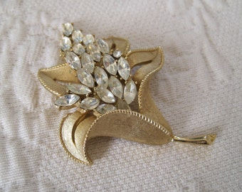 Large Trifari Brooch Pin Rhinestone Flower Crown Mark Bridal Glove Pin Hat Pin Sash Pin 1960s