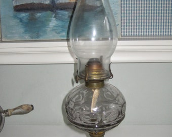 Antique Oil Lamp Clear Bowl with White Milk Glass Base Complete Elegant Functional