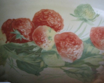 Vintage Hand Painted Tray Strawberries Strawberry Blossoms Bavarian Porcelain