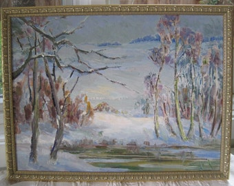 Vintage Original Oil Painting Listed Early California Plein Air Artist Winter Landscape Lake Tahoe, CA Area