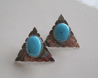 Vintage Earrings Sterling Silver and Turquoise  Native American Navajo  Post