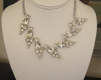 Karu Rhinestone Necklace Mid-Century Modern Glam 1950's Bride Brilliant Sparkle